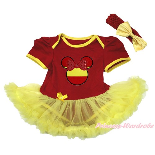 World Cup Spain Red Baby Bodysuit Jumpsuit Yellow Pettiskirt With Sparkle Red Spain Minnie Print With Red Headband Yellow Satin Bow JS3420