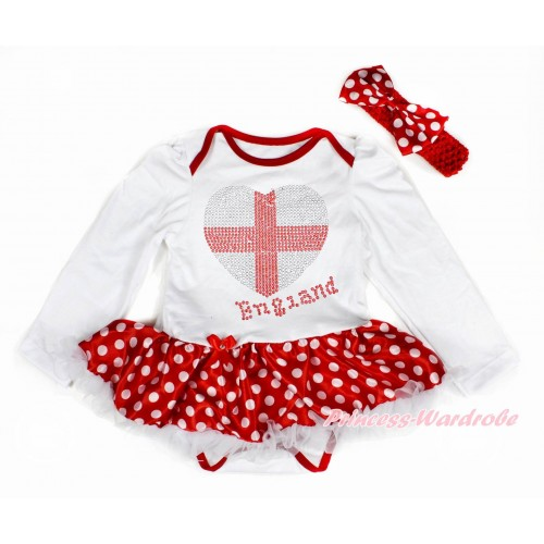 World Cup White Long Sleeve Baby Bodysuit Jumpsuit Minnie Dots White Pettiskirt With Sparkle Crystal Bling Rhinestone England Heart Print & Red Headband Minnie Dots Satin Bow JS3425