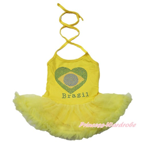 World Cup Yellow Baby Halter Jumpsuit Yellow Pettiskirt With Sparkle Crystal Bling Rhinestone Brazil Heart Print JS3447