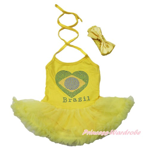 World Cup Yellow Baby Halter Jumpsuit Yellow Pettiskirt With Sparkle Crystal Bling Rhinestone Brazil Heart Print With Yellow Headband Yellow Satin Bow JS3482