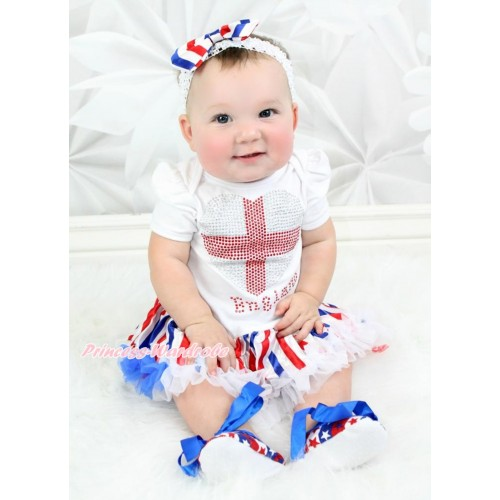 World Cup White Baby Bodysuit Jumpsuit Red White Royal Blue Striped Pettiskirt with Sparkle Crystal Bling Rhinestone England Heart Print JS3505