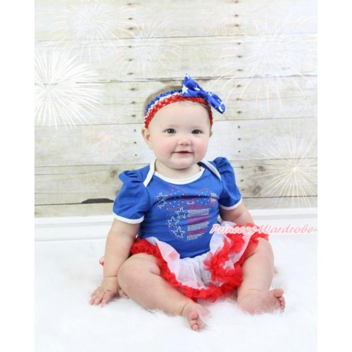 American's Birthday Royal Blue Baby Bodysuit Jumpsuit White Red Pettiskirt With Sparkle Crystal Bling Rhinestone 4th July Minnie Print With Red White Royal Blue Headband Patriotic American Star Satin Bow JS3508