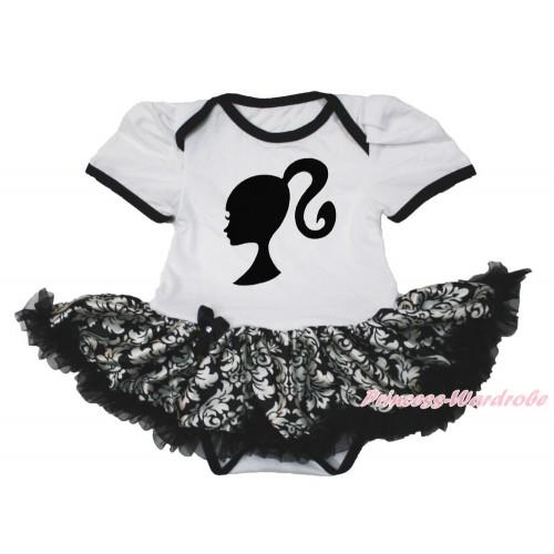 White Baby Bodysuit Jumpsuit Damask Pettiskirt with Barbie Princess Print JS3533