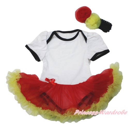World Cup Germany White Baby Bodysuit Jumpsuit Red Yellow Pettiskirt With Black Headband Red Yellow Rose JS3540