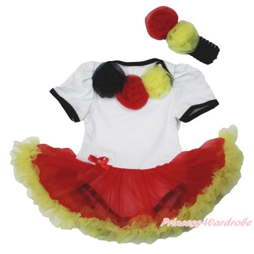 World Cup Germany White Baby Jumpsuit Red Yellow Pettiskirt With Black Red Yellow Rosettes With Black Headband Red Yellow Rose JS3544