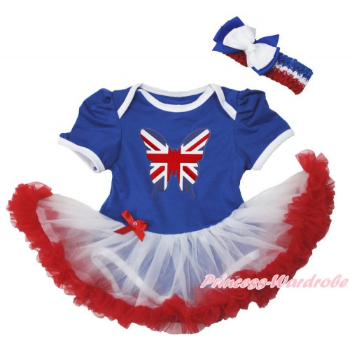Royal Blue Baby Bodysuit Jumpsuit White Red Pettiskirt With Patriotic British Butterfly Print With Red White Royal Blue Headband White Royal Blue Ribbon Bow JS3550