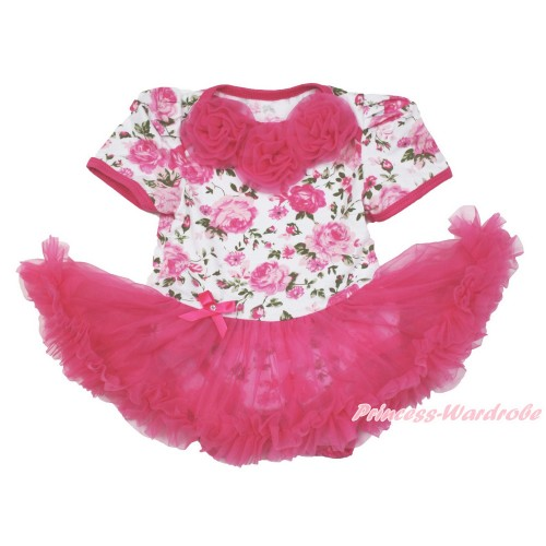 Rose Fusion Baby Bodysuit Jumpsuit Hot Pink Pettiskirt with Hot Pink Rosettes JS3573