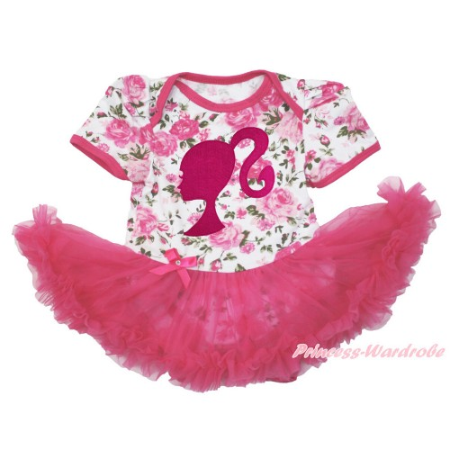 Rose Fusion Baby Bodysuit Jumpsuit Hot Pink Pettiskirt with Hot Pink Barbie Princess Print JS3587