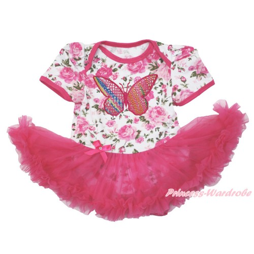 Rose Fusion Baby Bodysuit Jumpsuit Hot Pink Pettiskirt with Rainbow Butterfly Print JS3588