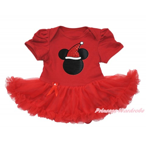 Xmas Red Baby Bodysuit Jumpsuit Red Pettiskirt with Christmas Minnie Print JS3607