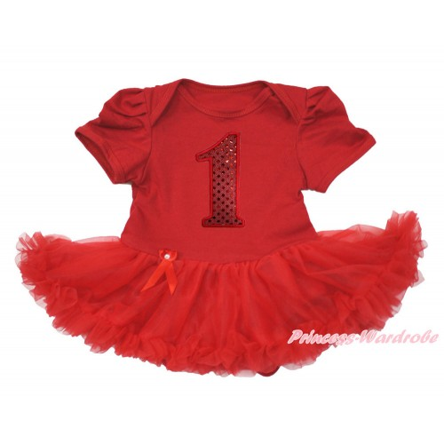 Red Baby Bodysuit Jumpsuit Red Pettiskirt with 1st Sparkle Red Birthday Number Print JS3608