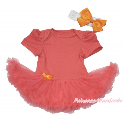 Coral Tangerine Baby Bodysuit Jumpsuit Coral Tangerine Pettiskirt With White Headband Orange Silk Bow JS3616