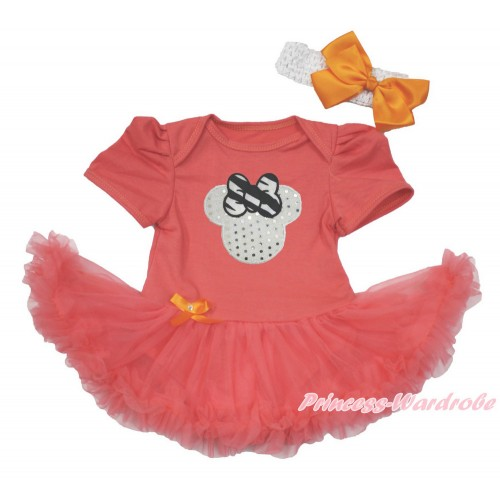 Coral Tangerine Baby Bodysuit Jumpsuit Coral Tangerine Pettiskirt With Sparkle White Minnie Print With White Headband Orange Silk Bow JS3642