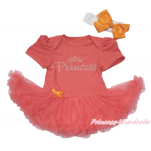 Coral Tangerine Baby Bodysuit Jumpsuit Coral Tangerine Pettiskirt With Sparkle Crystal Bling Rhinestone Princess Print With White Headband Orange Silk Bow JS3645