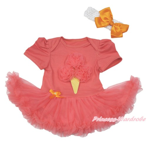 Coral Tangerine Baby Bodysuit Jumpsuit Coral Tangerine Pettiskirt With Coral Tangerine Rosettes Ice Cream Print With White Headband Orange Silk Bow JS3648