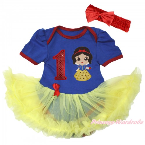 Royal Blue Red Ruffles Baby Bodysuit Jumpsuit Yellow Pettiskirt With 1st Sparkle Red Birthday Number & Snow White Print With Red Headband Red Satin Bow JS3680