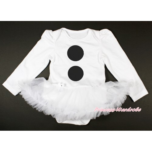 White Long Sleeve Baby Bodysuit Jumpsuit White Pettiskirt With Olaf Button Print JS3682