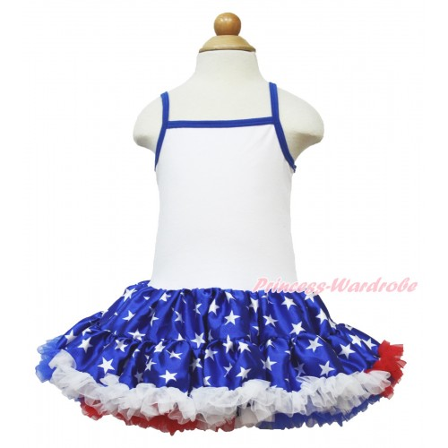 American's Birthday White Halter Patriotic American Star ONE-PIECE Dress LP50