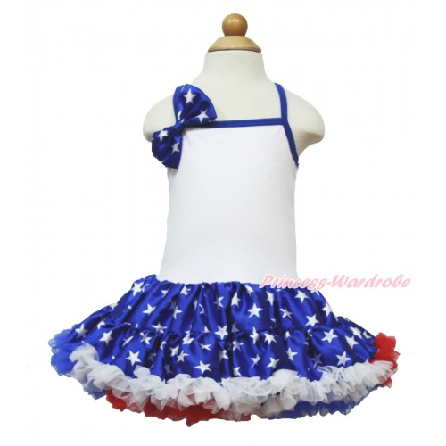 American's Birthday White Halter Patriotic American Star ONE-PIECE Dress & Patriotic American Star Satin Bow LP52