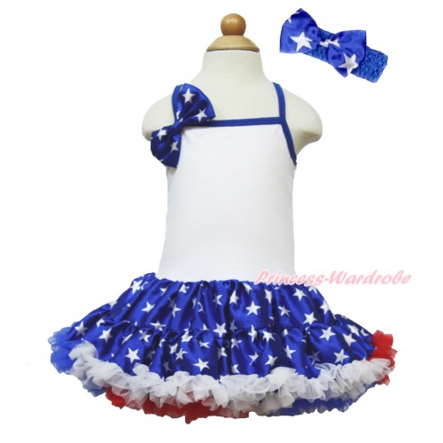 American's Birthday White Halter Patriotic American Star ONE-PIECE Dress & Patriotic American Star Satin Bow With Royal Blue Headband Patriotic American Star Satin Bow LP55