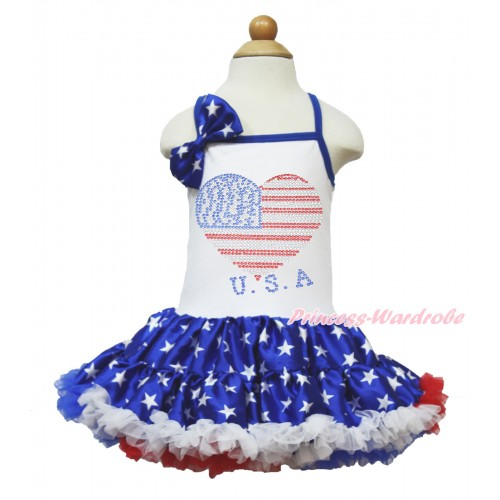 American's Birthday White Halter Patriotic American Star ONE-PIECE Dress & Patriotic American Star Satin Bow & Sparkle Crystal Bling Rhinestone USA Heart Print LP56