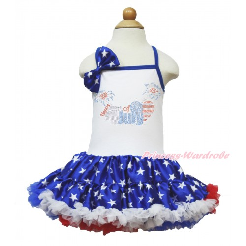 American's Birthday White Halter Patriotic American Star ONE-PIECE Dress & Patriotic American Star Satin Bow & Sparkle Crystal Bling Rhinestone 4th July Patriotic American Heart Print LP59