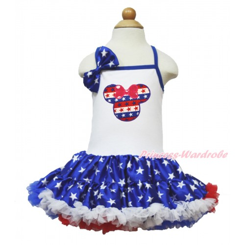 American's Birthday White Halter Patriotic American Star ONE-PIECE Dress & Patriotic American Star Satin Bow & Red White Blue Striped Star Minnie Print LP60