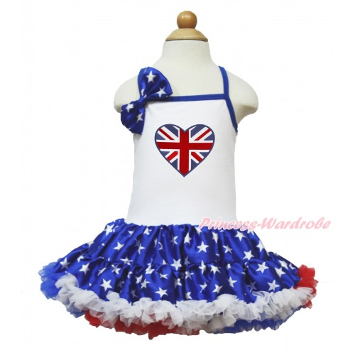 American's Birthday White Halter Patriotic American Star ONE-PIECE Dress & Patriotic American Star Satin Bow & Patriotic British Heart Print LP62