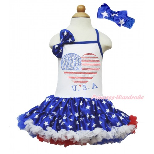 American's Birthday White Halter Patriotic American Star ONE-PIECE Dress & Patriotic American Star Satin Bow & Sparkle Crystal Bling Rhinestone USA Heart Print With Royal Blue Headband Patriotic American Star Satin Bow LP63