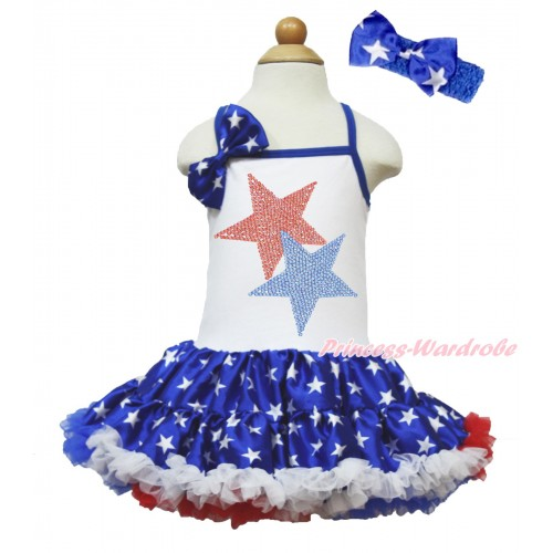 American's Birthday White Halter Patriotic American Star ONE-PIECE Dress & Patriotic American Star Satin Bow & Sparkle Crystal Bling Rhinestone Red Blue Twin Star Print With Royal Blue Headband Patriotic American Star Satin Bow LP64