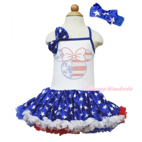 American's Birthday White Halter Patriotic American Star ONE-PIECE Dress & Patriotic American Star Satin Bow & Sparkle Crystal Bling Rhinestone 4th July Minnie Print With Royal Blue Headband Patriotic American Star Satin Bow LP65