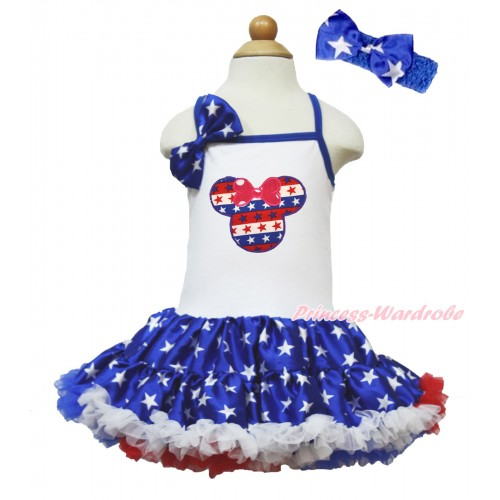 American's Birthday White Halter Patriotic American Star ONE-PIECE Dress & Patriotic American Star Satin Bow & Red White Blue Striped Star Minnie Print With Royal Blue Headband Patriotic American Star Satin Bow LP67