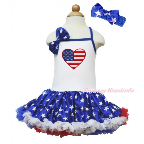 American's Birthday White Halter Patriotic American Star ONE-PIECE Dress & Patriotic American Star Satin Bow & Patriotic American Heart Print With Royal Blue Headband Patriotic American Star Satin Bow LP68