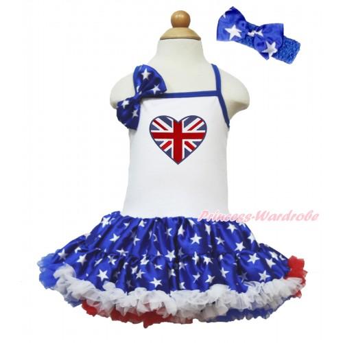 American's Birthday White Halter Patriotic American Star ONE-PIECE Dress & Patriotic American Star Satin Bow & Patriotic British Heart Print With Royal Blue Headband Patriotic American Star Satin Bow LP69