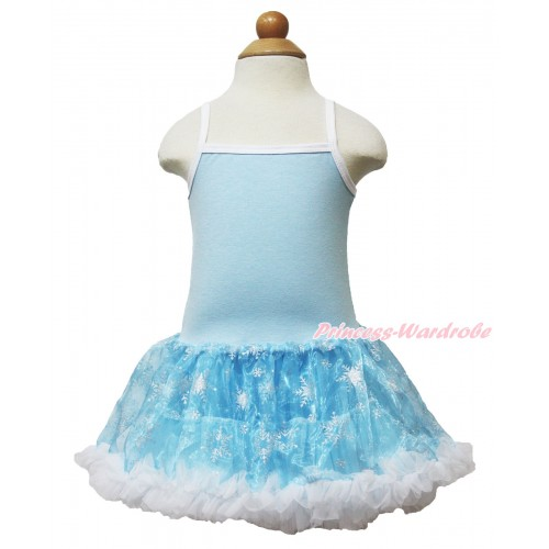 Frozen Princess Elsa Light Blue Sparkle Bling Snowflakes ONE-PIECE Halter Dress LP70