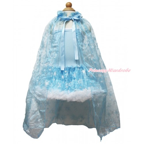 Frozen Princess Elsa Light Blue Sparkle Bling Snowflakes ONE-PIECE Halter Dress With Sparkle Snowflakes Light Blue Organza Cape LP79