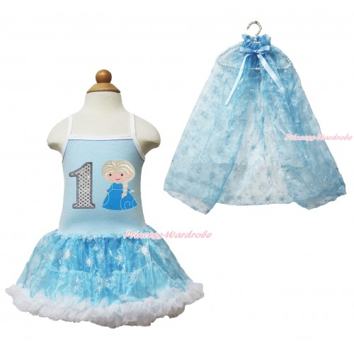 Frozen Princess Elsa Light Blue Sparkle Bling Snowflakes ONE-PIECE Halter Dress With 1st Sparkle White Birthday Number & Princess Elsa Print With Sparkle Snowflakes Light Blue Organza Cape LP82