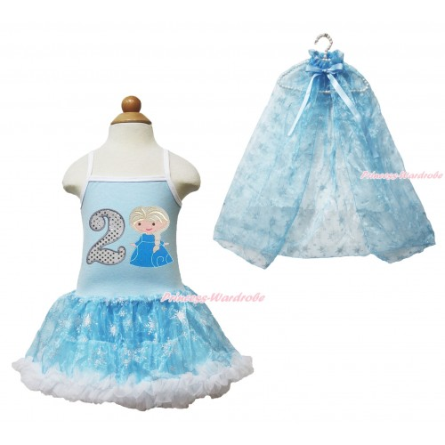 Frozen Princess Elsa Light Blue Sparkle Bling Snowflakes ONE-PIECE Halter Dress With 2nd Sparkle White Birthday Number & Princess Elsa Print With Sparkle Snowflakes Light Blue Organza Cape LP83