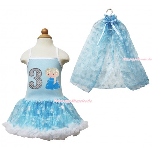 Frozen Princess Elsa Light Blue Sparkle Bling Snowflakes ONE-PIECE Halter Dress With 3rd Sparkle White Birthday Number & Princess Elsa Print With Sparkle Snowflakes Light Blue Organza Cape LP84