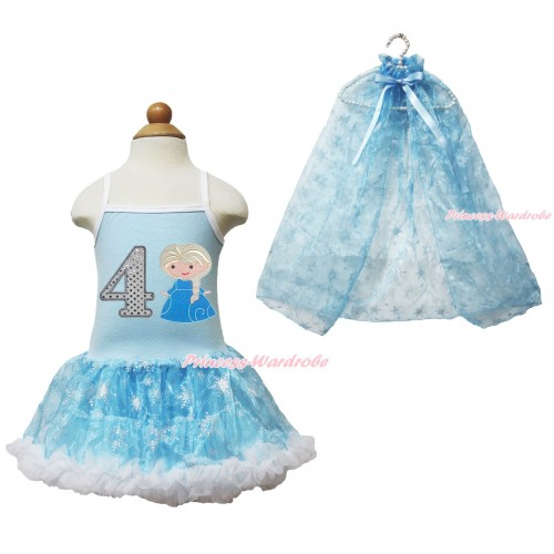 Frozen Princess Elsa Light Blue Sparkle Bling Snowflakes ONE-PIECE Halter Dress With 4th Sparkle White Birthday Number & Princess Elsa Print With Sparkle Snowflakes Light Blue Organza Cape LP85