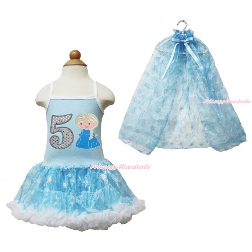 Frozen Princess Elsa Light Blue Sparkle Bling Snowflakes ONE-PIECE Halter Dress With 5th Sparkle White Birthday Number & Princess Elsa Print With Sparkle Snowflakes Light Blue Organza Cape LP86