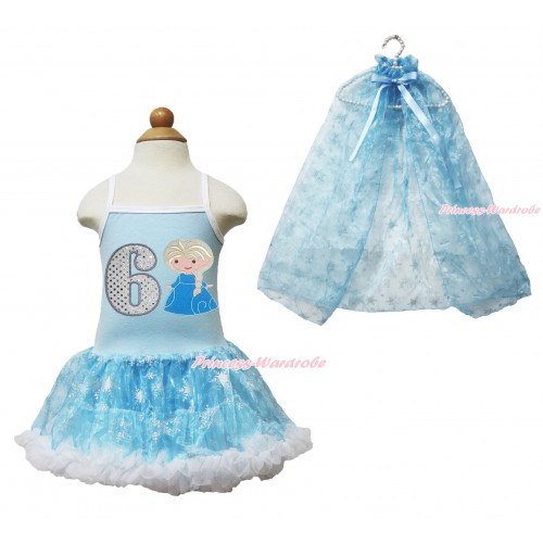 Frozen Princess Elsa Light Blue Sparkle Bling Snowflakes ONE-PIECE Halter Dress With 6th Sparkle White Birthday Number & Princess Elsa Print With Sparkle Snowflakes Light Blue Organza Cape LP87