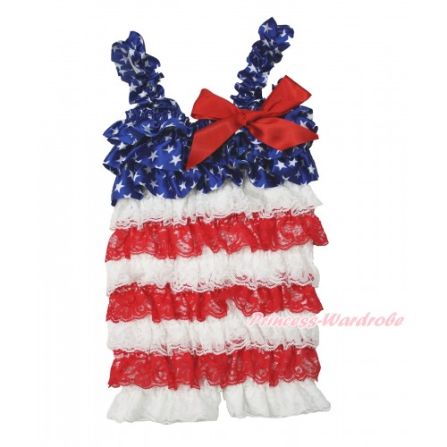 American's Birthday Patriotic Ameircan Star White Red Petti Romper with Red Bow & Straps LR184