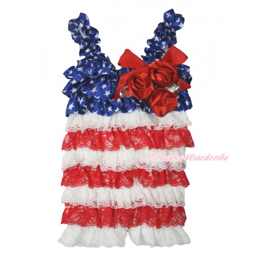 American's Birthday Patriotic American Star White Red Petti Romper with Red Bow & Straps & Bunch of Red Satin Rosettes & Crystal LR187