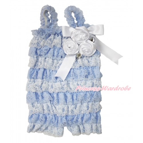 Frozen Elsa Light Blue White Lace Ruffles Petti Rompers With Straps With Big Bow & Bunch Of White Satin Rosettes & Crystal LR188