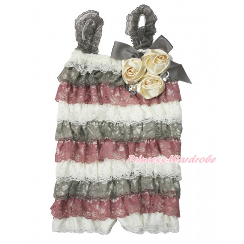 Cream White Grey Raspberry Wine Red Lace Ruffles Petti Rompers With Straps With Big Bow & Bunch Of Goldenrod Satin Rosettes & Crystal LR189