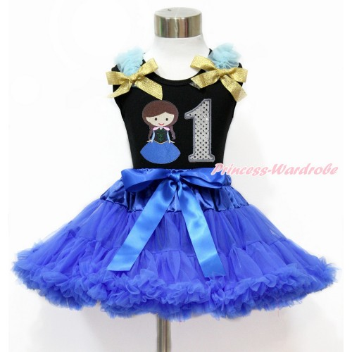 Black Tank Top with Light Blue Ruffles & Sparkle Goldenrod Bow with Princess Anna & 1st Sparkle White Birthday Number Print & Royal Blue Pettiskirt MG1198