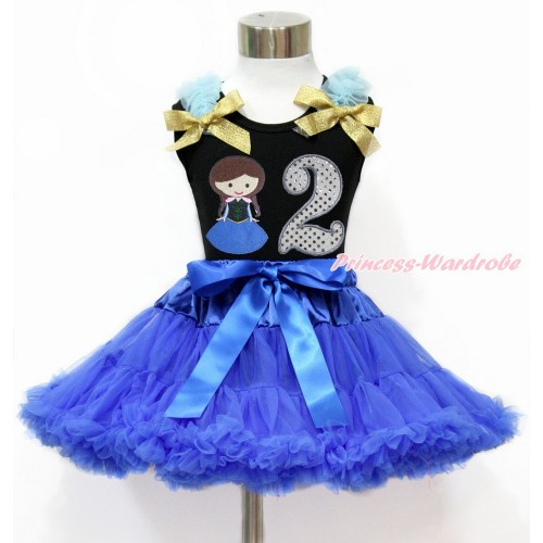 Black Tank Top with Light Blue Ruffles & Sparkle Goldenrod Bow with Princess Anna & 2nd Sparkle White Birthday Number Print & Royal Blue Pettiskirt MG1199
