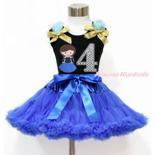 Black Tank Top with Light Blue Ruffles & Sparkle Goldenrod Bow with Princess Anna & 4th Sparkle White Birthday Number Print & Royal Blue Pettiskirt MG1201