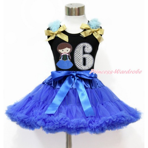 Black Tank Top with Light Blue Ruffles & Sparkle Goldenrod Bow with Princess Anna & 6th Sparkle White Birthday Number Print & Royal Blue Pettiskirt MG1203